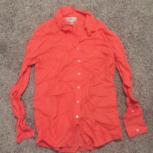 J. Crew coral linen button down shirt size 0